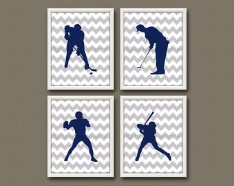 8x10 (4) SPORTS FIGURES Prints - Nursery Art, Nursery Decor, Children's Art, Sports - Football, Golf, Baseball, and Hockey
