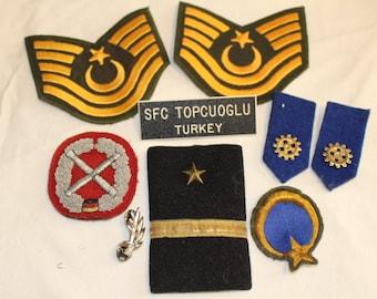 Vintage Turkey Military Uniform Dressing, Badges and Pins