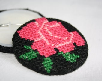 Floral Folk Cross Stitch Brooch