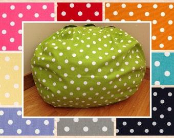 Bean Bag Chair Cover. Polka Dot Bean Bag Chair Reader's Nest COVER ONLY. Beanbag chair.  Floor Cushion. Stuffed Animal Storage