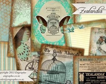 Printable Journal Scrapbook Kit - Zealandia Set - Digital Download -