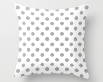 Gray Throw Pillow, Ikat, Polka Dot Pillow Cover, Velvet Cushion, Gray Decor, Ikat Bedding, Dorm Room, Teen Room Decor, Girls Bedroom
