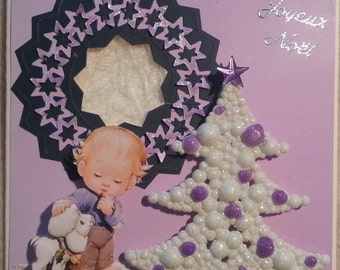 Christmas card 3d morehead boy and lamb leather, lace