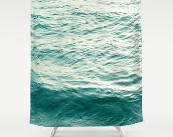 shower curtain, bathroom decor, modern shower curtain, sea ocean water waves beach house decor