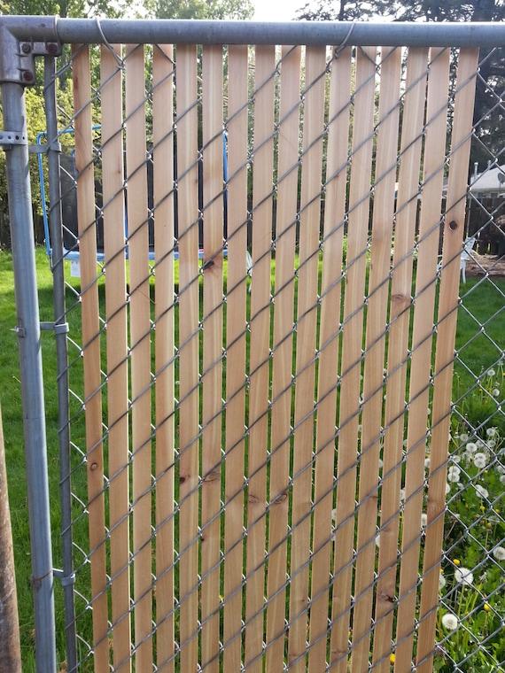 Cedar fence slats for chain link