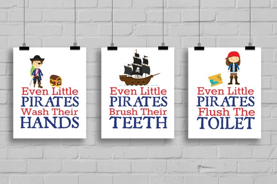 Items similar to pirate bathroom prints even little for Pirate bathroom ideas