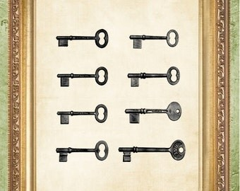 Keys Prints Book Page Print Print Vintage Key Art Print