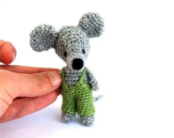 tiny rat, crochet rat, amigurumi rat mouse, miniature rat, tiny lovely rat funny gift idea stuffed little rat in green pants creepy cute rat