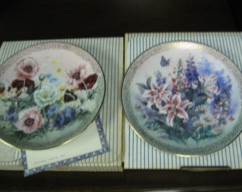 lot of two 1991 Lena Liu plates Poppy Pastorale and Lily Concerto