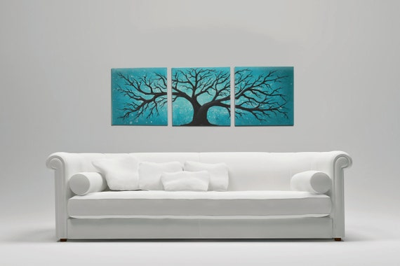 3 piece canvas set tree painting large wall art 36 inches for Set of three canvas paintings