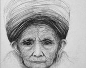 Woman Portrait Drawing Pencil, Old Lady Wearing a Hat, Wrinkles, Illustration, 8 x 10 Reproduction Print of Original Drawing