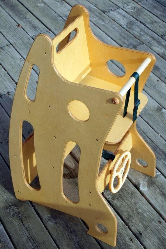 Wooden High Chair Rocker And Desk Combo