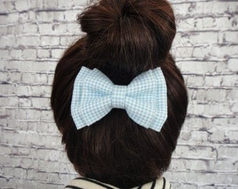 Blue and White Checks Cotton Fabric Hair Bow For Girls Hair Accessory Barrette Alligator