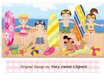 Summer beach kids clipart digital illustration