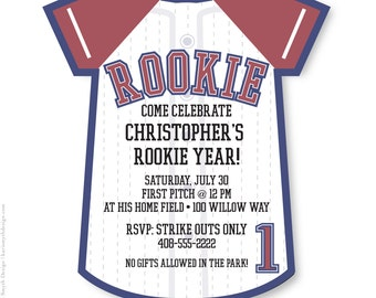 Rookie Year. Baseball Jersey Birthday Party Invitation. Personalized & Printable