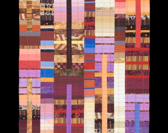 "Art Quilt, Quilt Art, Wallhanging. Rising #30 - Grain Grower. 48""H x 23""W. Pieced and quilted in 100% cotton, hanging sleeve."