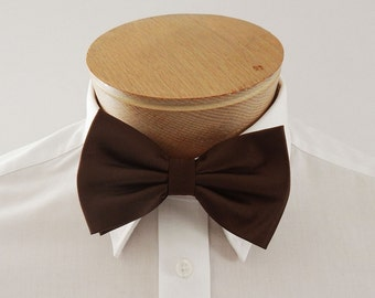 Mens Bow Tie Chocolate Brown Solid Pre Tied Bow Tie