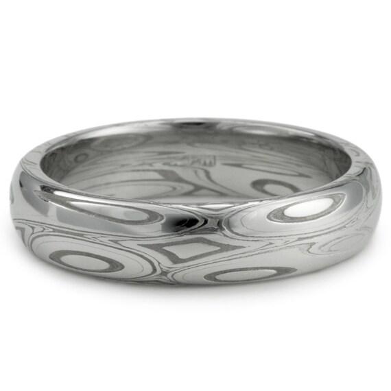 Damascus Steel Ring Women Wedding Band for Women Ocean | Etsy |Damascus Steel Rings For Women