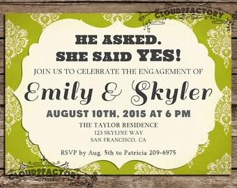 She Said YES Engagement Party Invitation Digital Printable invite
