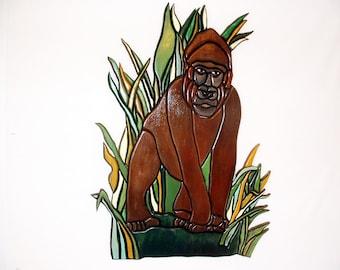 Wood sculpture, Gorilla, Wall Art, Rustic, Ape, Wood Wall Art, Wall Hanging, Man Cave Decor, Intarsia Wood Art.
