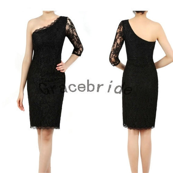 black lace and satin holiday dresses unique one shoulder design prom dress sexy sheath bridesmiad dress lace sleeve short homecoming dresses