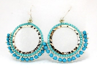 Beaded Earrings / Beaded Hoop Earrings /  Swarovski Earrings / Beaded Jewelry / Silver Beaded Earrings / Silver Earrings