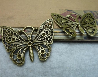 10pcs 47x35mm Antique bronze butterfly Charms Pendant setting Jewelry Findings bC6928