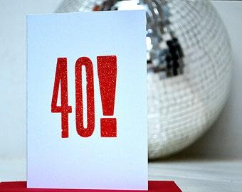 Letterpress 40th Card