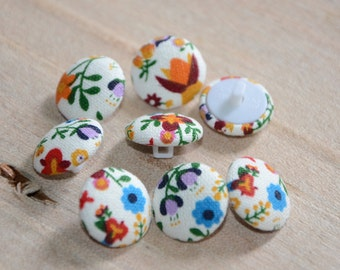 Fabric Buttons -  Hungarian Floral Tulip Spring  - 10 Small Fabric Covered Buttons