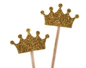 20 gold Toothpicks crown Double Sided- Party Picks, Cupcake Topper, Baby Shower Decoration, Birthday Pick