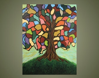 Original Painting: Stained glass tree