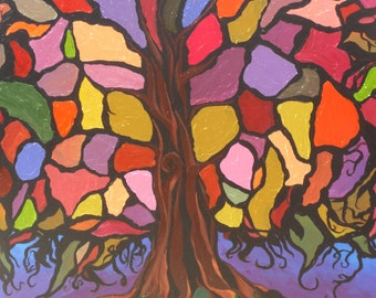 Original Painting: Stained Glass Tree at Night