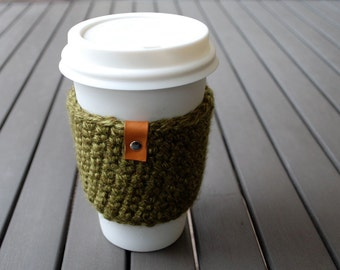 Coffee Cup Cozy / Coffee Cup Sleeve / Coffee Cozy / Tea Cup Sleeve - Joshua Tree Green