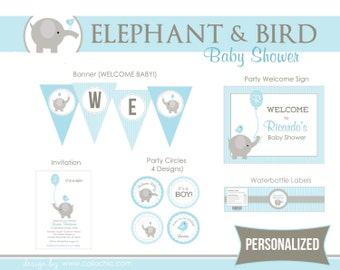 Elephant Baby Shower Party Package PRINTABLE - Boy Balloon & Bird (Blue Gray)