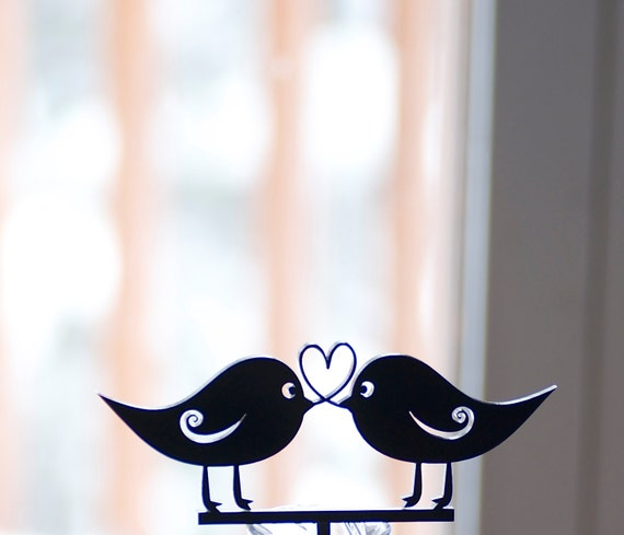 Love Bird  and Heart Cake Topper
