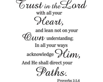 Wall vinyl decal Proverbs 3:5,6 Trust in the Lord