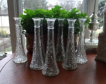 Vintage pressed glass flower vase set