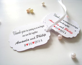 Pesonalized wedding favor tags, gift tags, thank you tags, party favor tags, engagement favor tags - 30 count