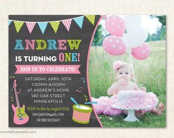 Making Music Chalkboard Photo Birthday Invitations  - Girl First Birthday Party - Digital or Printed