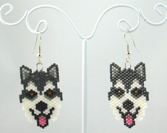 Beaded Alaskan Malamute Earrings