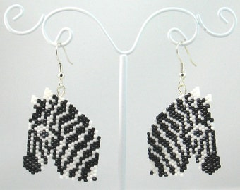 Beaded Zebra Earrings