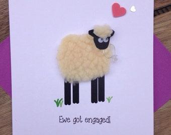 Ewe got engaged! Sheep engagement card congratulations