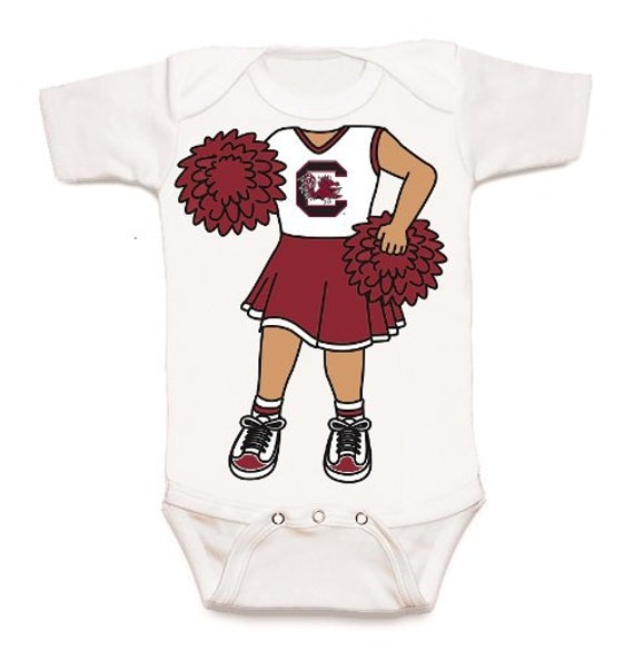 South Carolina Gamecock Heads Up Cheerleader Baby Bodysuit