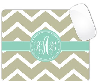 Chevron Monogram MousePad Mouse Pad Personalized Custom Gray,BabyBlue, Pink, Yellow,Green,Grey,Olive,Mint Green