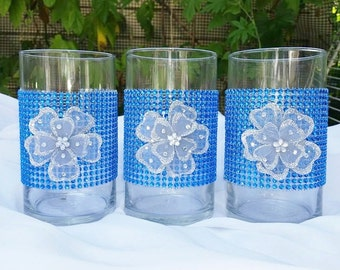 3pc. Set,Royal Blue Rhinestone Vase,Wedding Centerpiece ,Rhinestone Cylinder vase