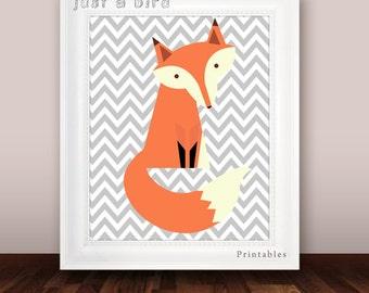 Grey chevron nursery decor, fox nursery print, printable nursery fox print, fox wall art, chindrens room decor - INSTANT DOWNLOAD