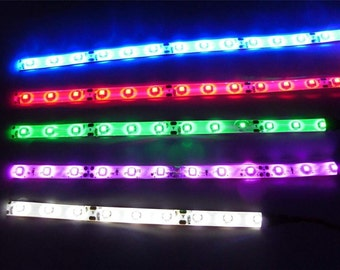 """10"""" inch Superbright Waterproof Battery operated LED light strip W/ Battery Holder Red,White,Blue, and Green"""