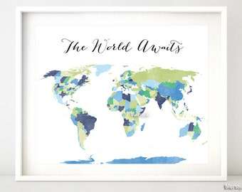 Custom Quote Color Size Printable World Map With Countries Us States Canadian