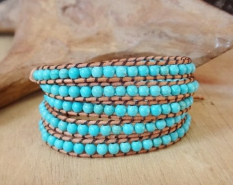 5 wrap leather bracelets with Turquoise