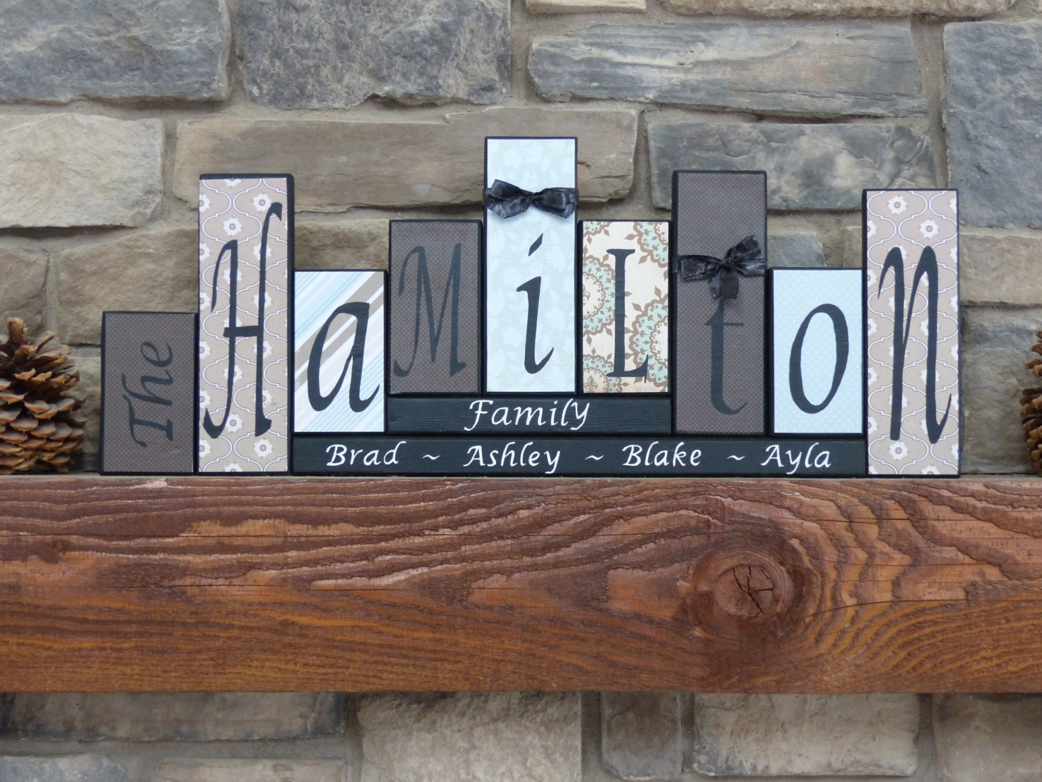 letters home decor wood block mantel personalized zoom